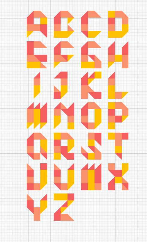 """7 """"tangram"""" typefaces   BEACH"""