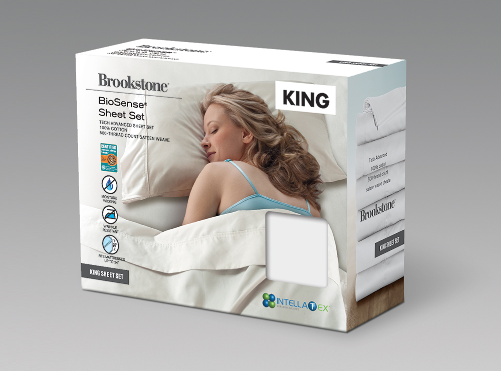 Brookstone sheets packaging design
