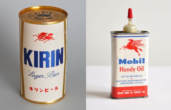 Mythological logos Kirin-versus-Mobil