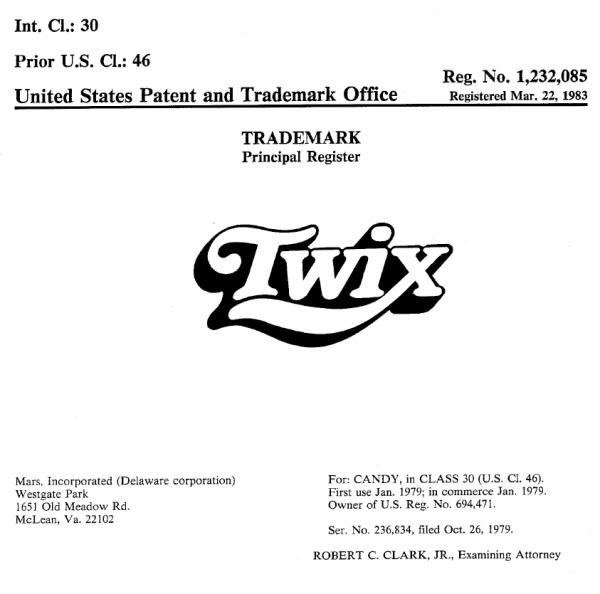Twix Trademark design Adell Crump