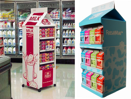 cross category displays milk carton shaped beach