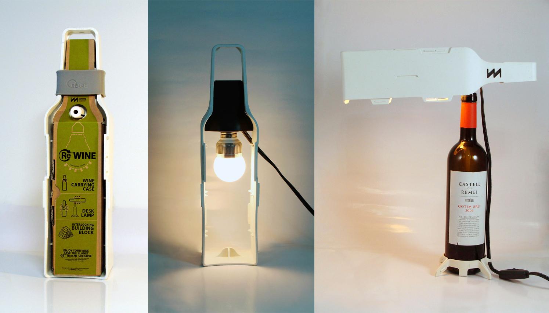 Modular wine bottle desk lamp beach for Champagne bottle lamp